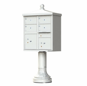Decorative Traditional 4 Door CBU Mailboxes with Extra Large Tenant Doors Gray