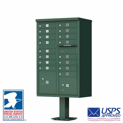 CBU - 16 Tenant Boxes Cluster Mailbox In Forest Green