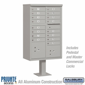 Salsbury 3316GRY-P 16 Door Cluster Mailbox Gray - Private Access