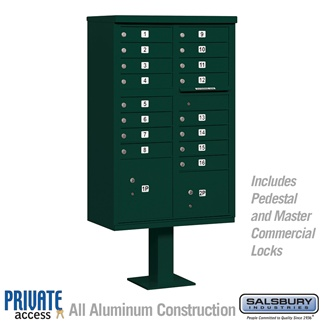 Salsbury 3316GRN-P 16 Door Cluster Mailbox Green - Private Access