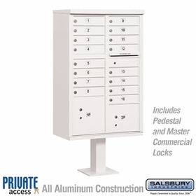 Salsbury 3316WHT-P 16 Door Cluster Mailbox White - Private Access