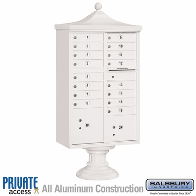 Salsbury 3316R-WHT-P 16 Door Regency Decorative Cluster Mailbox White - Private Access