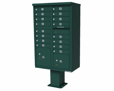 16-Door High Security Cluster Box Unit (HSCBU) - Forest Green