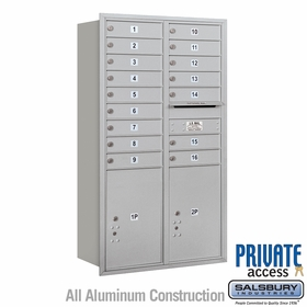 Salsbury 3715D-16ARP 4C Mailboxes 16 Tenant Doors Rear Loading