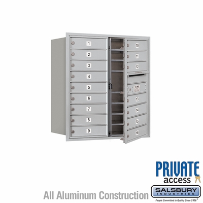 Salsbury 3709D-16AFP 4C Mailboxes 16 Tenant Doors Front Loading