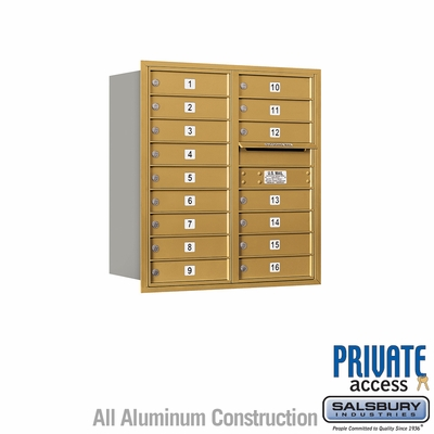 Salsbury 3709D-16GRP 4C Mailboxes 16 Tenant Doors Rear Loading