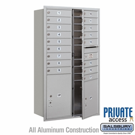 17 Doors 2 Parcel Units - Front Loading Private 4C Mailbox