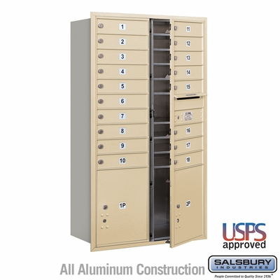 Salsbury 3715D-18SFU 4C Mailboxes 18 Tenant Doors Front Loading