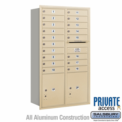 Salsbury 3715D-18SRP 4C Mailboxes 18 Tenant Doors Rear Loading