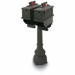 1812 Black Buckhorn Plastic Mailboxes with Post