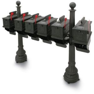 1812 Black Morganton Plastic Mailboxes with Post