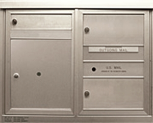 2 Double and 1 Single Height Tenant Doors 1 Parcel Locker Front Loading ADA48-D1D2P1 USPS Approved 4C Horizontal Mailboxes