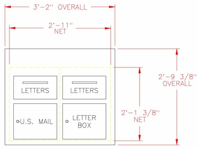 Custom Collection Center / Mail Drop Box - 6 Units High - 2 Hopper Doors