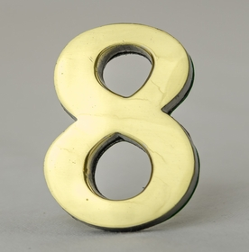 2 Inch Brass Number Eight with Self Adhesive Back