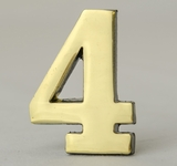 2 Inch Brass Number Four with Self Adhesive Back