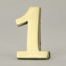 2 Inch Brass Number One with Self Adhesive Back