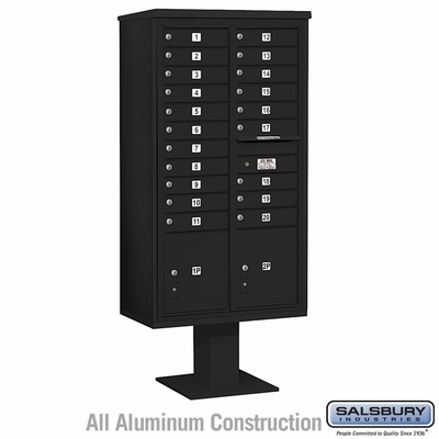 Salsbury 3416D-20BLK 20 Door 4C Pedestal Mailbox - Black with Parcel Locker