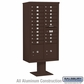 Salsbury 3416D-20BRZ 20 Door 4C Pedestal Mailbox - Bronze with Parcel Locker