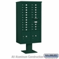 Salsbury 3416D-20GRN 20 Door 4C Pedestal Mailbox - Green with Parcel Locker