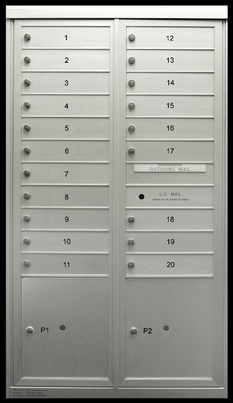 20 Single Height Tenant Doors 2 Parcel Lockers Two Column Front Loading MaxP-D20P2 USPS Approved 4C Horizontal Mailboxes