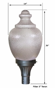23 inch H.I.D. Light Fixture- 23 inch Acorn Globe and Fitter