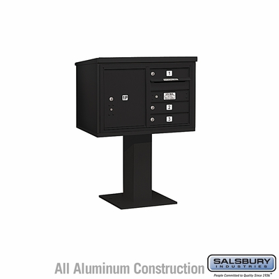Salsbury 3405D-03BLK 3 Door 4C Pedestal Mailbox - Black with Parcel Locker