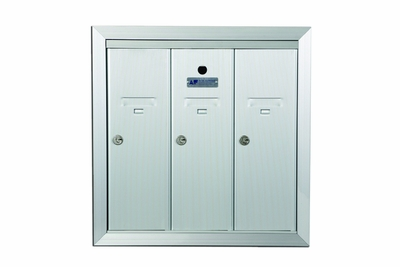 3 Compartment Fully Recessed Vertical Replacement Mailboxes - Anodized Aluminum