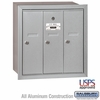 Salsbury 3503ARU 3 Door Vertical Mailbox Aluminum Finish Recessed Mounted USPS Access