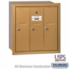 Salsbury 3503BRU 3 Door Vertical Mailbox Brass Finish Recessed Mounted USPS Access
