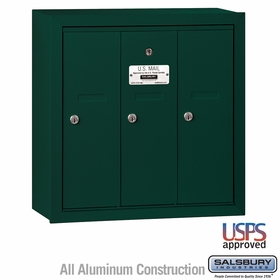 Salsbury 3503GSU 3 Door Vertical Mailbox Green Surface Mounted USPS Access