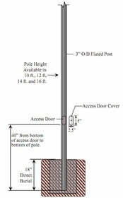 3 inch Diameter Fluted Cast Aluminum Commercial Light Pole with Access Door