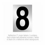 Salsbury 1215-8 Reflective Number 8 (3 Inch)