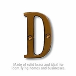 3 Inch Solid Brass Letter Antique Finish D