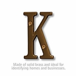 3 Inch Solid Brass Letter Antique Finish K