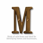 3 Inch Solid Brass Letter Antique Finish M