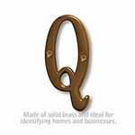 3 Inch Solid Brass Letter Antique Finish Q