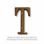 3 Inch Solid Brass Letter Antique Finish T