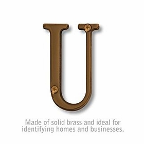 Salsbury 1240A-U 3 Inch Solid Brass Letter Antique Finish U