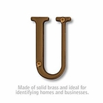 3 Inch Solid Brass Letter Antique Finish U