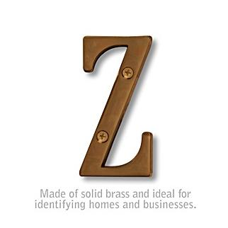 Salsbury 1240A-Z 3 Inch Solid Brass Letter Antique Finish Z
