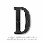 3 Inch Solid Brass Letter Black Finish D
