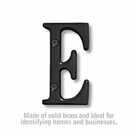 Salsbury 1240BLK-E 3 Inch Solid Brass Letter Black Finish E