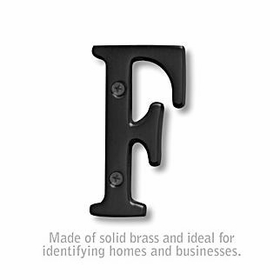 Salsbury 1240BLK-F 3 Inch Solid Brass Letter Black Finish F