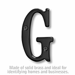 3 Inch Solid Brass Letter Black Finish G