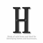 Salsbury 1240BLK-H 3 Inch Solid Brass Letter Black Finish H