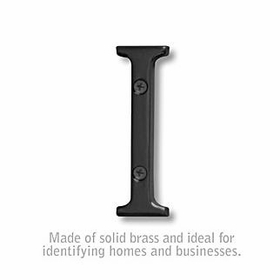 Salsbury 1240BLK-I 3 Inch Solid Brass Letter Black Finish I