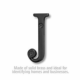 Salsbury 1240BLK-J 3 Inch Solid Brass Letter Black Finish J