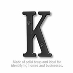 3 Inch Solid Brass Letter Black Finish K