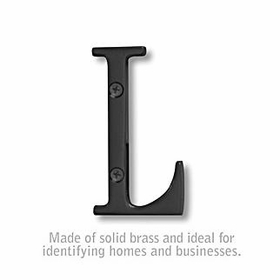 Salsbury 1240BLK-L 3 Inch Solid Brass Letter Black Finish L