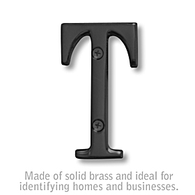 Salsbury 1240BLK-T 3 Inch Solid Brass Letter Black Finish T